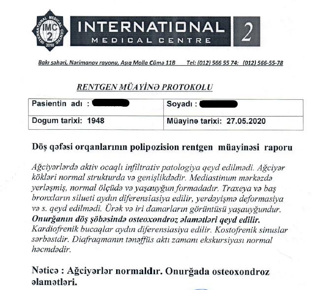Tibbi tərcümə - Rentgen müayinə protokolu Azərbaycan dilindən rus dilinə tərcümə