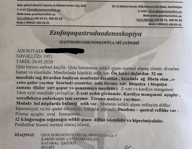 Tibbi tercume - Qastroduedenoskopiya müayinəsi Azərbaycan dilindən ingilis dilinə tərcümə